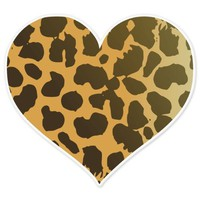 Cheetah Animal Print Heart car bumper sticker 4