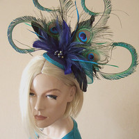 Curled Peacock Feathers Cluster with by Dress2ImpressEtsy on Etsy
