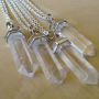"Lucky Quartz Crystal Point Necklace 30"" Necklace Bohemian Boho Gypsy NEW Clear"