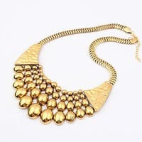 Golden Beaded Snake Chain Statement Bib Necklace wholesale