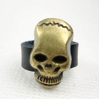 Wholesale Cool Black Genuine Leather Skull Band Ring
