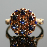 Antique Victorian Sapphire Ring with Enamel Design