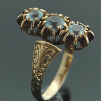 Antique Gold Ring - 18k Yellow Gold and Blue Zircon Ring