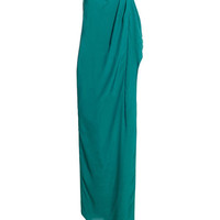 REISS Womens Alyssa Emeraldgreen Bandeau Frill Maxi Dress