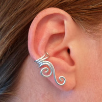 Double Spiral Ear Cuff in Wire-wrapped Aluminium. Choose your color.