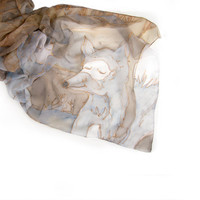 Fox scarf Hand painted in sands grey taupe  The arctic fox silk scarf-Autumn silk scarf with foxes-MADE TO ORDER listing