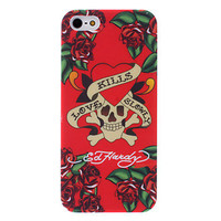 Red Heart Skull Head Pattern iPhone 5 Case