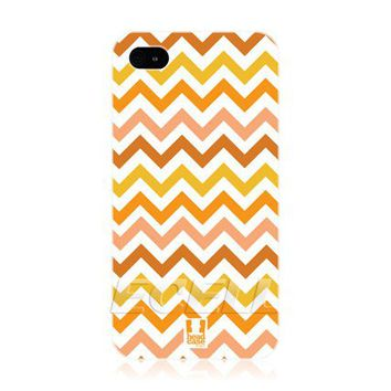 Ecell - Head case orange chevron pattern snap-on back case cover for apple IPhone 4 4s
