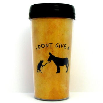 Funny  I Don't Give A Rat's Ass Handmade Travel Mug by kitschville