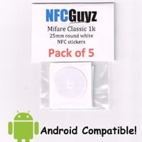 Mifare Classic 1k 13.56Mhz NFC Sticker Tags (Pack of 5)