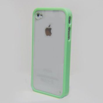 Mint Green Lovely Soft Trim High Clear Back Hard Cover Bumper Case for All iPhone 4 4S 4GS