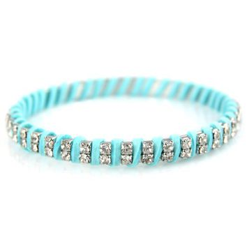 Neon Blue - Wound Soft Fabric - Circumference Lined Faux Crystal - Elegant Bangle Bracelet