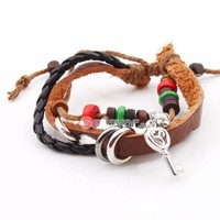 Fashion Adjustable Ethnic Key Leather String Bracelet at online cheap fashion jewelry store Gofavor