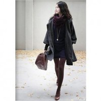 Warm-Keeping Layered Lapel Lace-Up Zipper Puff Long Sleeves Black Fleece Coat For Women China Wholesale - Everbuying.com