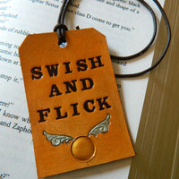 Leather Luggage Tag - Harry Potter - Swish and Flick - Golden Snitch Detail - J K Rowling