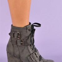 Halston Wedge Booties - Grey