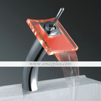 Color Changing LED Waterfall Bathroom Sink Faucet (Tall) [#00247182] - US$69.62 : Amazplus.com