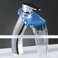 Color Changing LED Waterfall Bathroom Sink Faucet (Tall) [#00247179] - US$77.34 : Amazplus.com