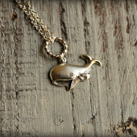Cheerful Whale Necklace in Silver