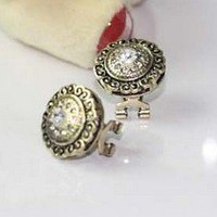 $4.99  Vintage Court Engrave Circle Stud Earrings at Online Cheap Vintage Jewelry Store Gofavor