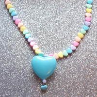Pastel Rainbow Hearts Necklace