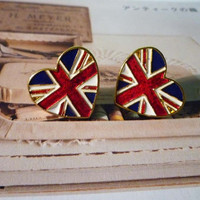 UK Flag Heart Stud Earrings