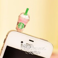 Cyprustech - Hot New Starbucks Coffee Style 3.5mm Headphone Anti-dust Plug Cap for Iphone 4 4S Samsung Galaxy HTC LG - Pink Color