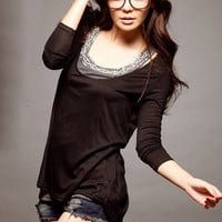 Black Irregular Style Back Zipper Ladies Tee : Wholesaleclothing4u.com