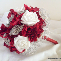 Red Brooch Bouquet, Christmas Wedding, alternative, non traditional