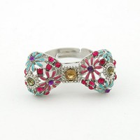 Free Shipping Blue Sweet Bow Daisy Opening Ring 10112936