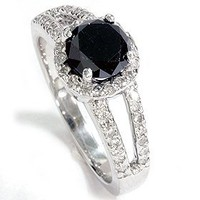 Real 2.00ct Huge Black Diamond Pave Halo Ring 14K White Gold: Jewelry: Amazon.com