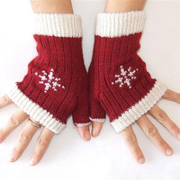 Woman Fingerless Gloves  with Embroidered by HandMadeInItaly