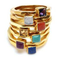 Square-Set Stone Rings, Assorted Colors by Wendy Mink | Charm & Chain