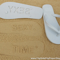 Custom Sand Imprint Flip Flops. Personalize With Your Design. No Minimum Order Quantity