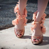 Wild Rose Urban68H Ruffle Sequin Peep Toe High Heels (Peach) - Shoes 4 U Las Vegas