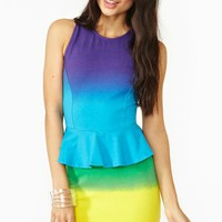 Rainbow Peplum Dress