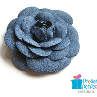 Distressed Denim Flower Hair Clip, .. on Luulla