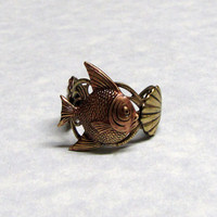 Tropical Fish with Shell Ring Band by ranaway on Etsy