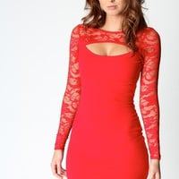 Jasmine Long Sleeve Lace Cut Out Front Bodycon Dress