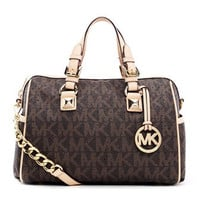 MICHAEL Michael Kors  Medium Grayson Logo Perforated Satchel with Strap - Michael Kors