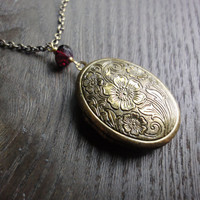 Oval Antique Locket Necklace  Antique Brass Finish by brookeelissa