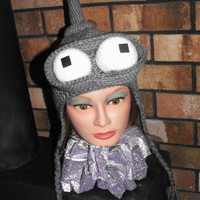 SciFi Robot Hat with Ear Flaps by PlasticUtopia on Etsy