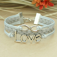 Infinity bracelet - Love bracelet in grey, Chrstimas gift for girls and boys