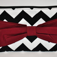 Chevron Bow Clutch Black with Garnet Bow Carolina Gamecocks Game Day