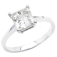 14K White Gold High Poliosh Finish Princess-cut 1.25 CT Equivalent Top Quality Shines CZ Cubic Zirconia Ladies Solitaire Wedding Engagement Ring Band: Jewelry: Amazon.com