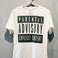 Parental Advisory Shirt Punk Rock T-Shirts Hip Hop Women Off White Size L