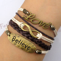 Infinity, Believe &amp; Love Bracelet--Antique Bronze Bracelet--Wax Cords and Imitation Leather Bracelet--Best Chosen Gift