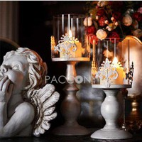 European Style With Carvings Wrought Iron Candle Holders