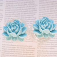 Light teal turquoise Resin flower stud earrings