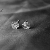 Spiral Earrings, Silver Stud Earrings, sterling silver Post Earrings, Handmade Luxe Style